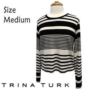 Trina Turk Size M Black White Stripe Sweater NWT